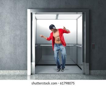 man with headphone dancing in 3d elevator