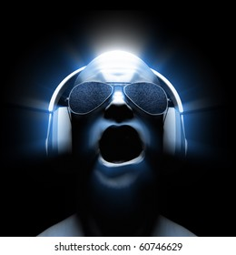 Man with headphones (and sunglasses with static in the lenses) with glow and light streaks.
