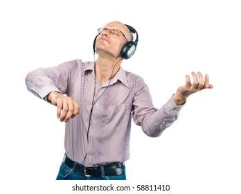 Man in headphones shows violin