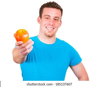 Man with healthy apple