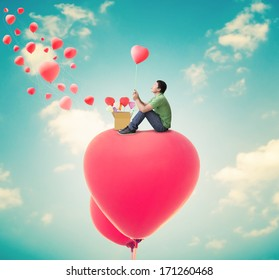 Man With Heart Balloons,Valentines Day Background