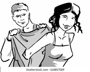 A man is helping a woman put on a coat (jacket). Man is helping a woman undress, he holding her coat. Black and white sketch.