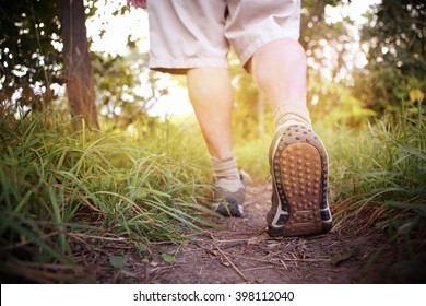 Man hiking in the countryside