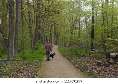 Man hiking with his dog in Collingwood, Ontario, Canada