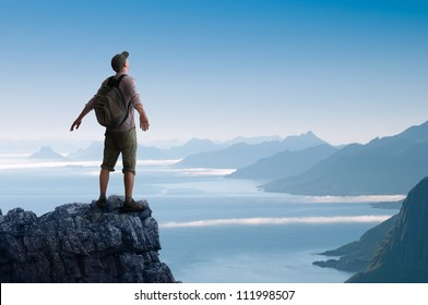 man hiking in mountains