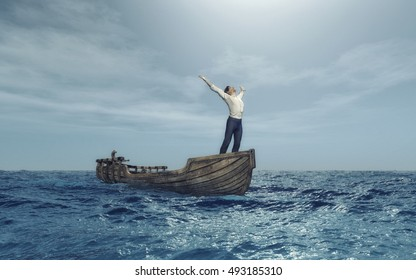 Man with his arms rised to the sky in a boat at sea . This is a 3d render illustration