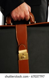 A man with his bag goes to work