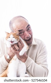 man with his cat