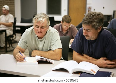 A man in his fifties going back to school for career training.