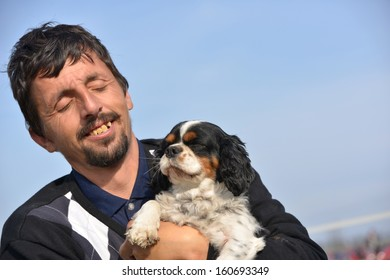 man with his pet dog