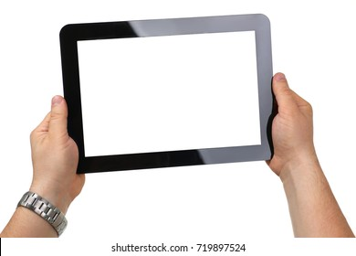 Man hoding black tablet frame in hand isolated on white closeup. Can insert an image image your text for the concept or project development of mobile applications, their advertising for mobile devices