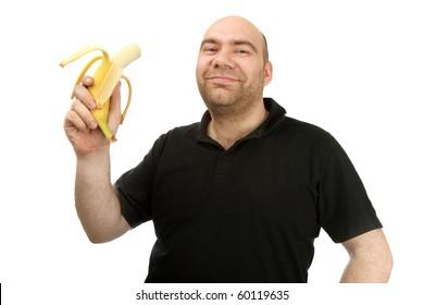 man hold banana  closeup isolated