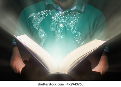 man hold a book,educatio n and innovation concept