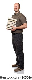 man hold books isolated on white background