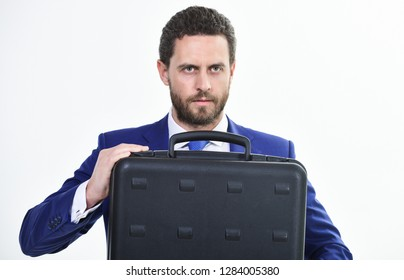 Man hold briefcase. Business profit. Commercial offer. Businessman demonstrate briefcase. Business conference. Business attributes. Justification for proposed project or expected commercial benefit.