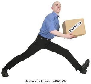 "Man hold carton box with inscription ""express"""