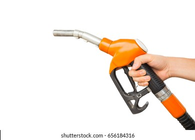 Man hold fuel nozzle isolated on white background.