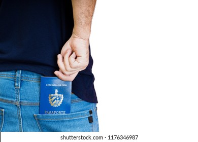 Man hold his cuban passport