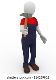 A man hold in his hand a hammer