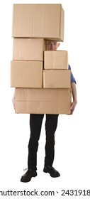 Man hold pile cardboard boxes on white