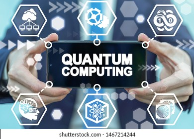 Man hold smartphone with quantum computing words on display. Quantum qubit intelligent computing mobile technology.