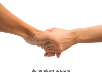 man hold woman hand on white background