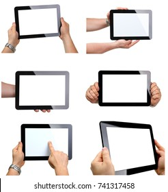 man holding black tablet frame in hand isolated on white closeup.