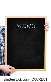 Man holding a blank black board, showing an empty menu