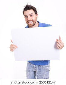 Man holding a blank card isolated on white background