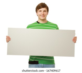a man holding a blank, isolated on white background