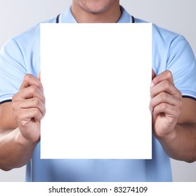 A man holding blank paper