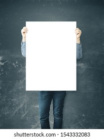 Man holding blank placard. Business education concept