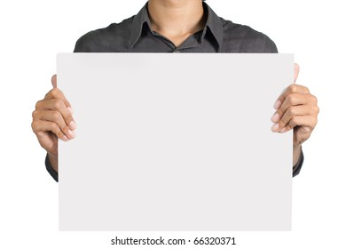 man holding a blank white board