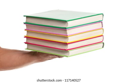 Man holding a books isolated on white background