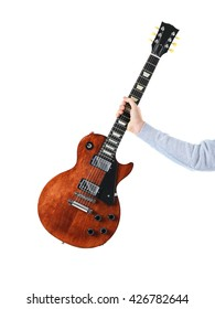 Man holding brown electric guitar, isolated on white