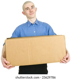Man holding brown heavy cardboard box on a white