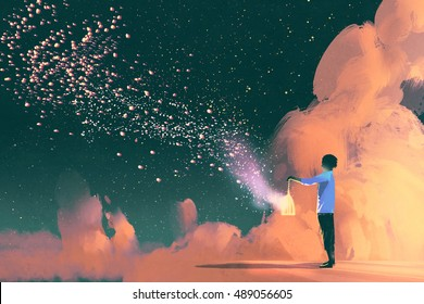 man holding a cage with floating shining stardust,illustration painting