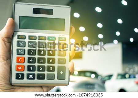 Man Holding Calculator Business Finance On Stock Photo Edit Now