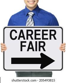 A man holding a career fair poster
