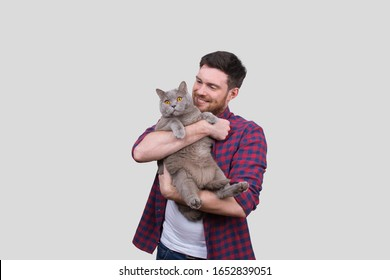 Man Holding Cat in Hands. British Gray Cat. Man with Cat Smiling. Isolated