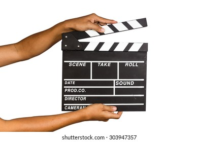a man holding a clapper board or film slate with isolate background