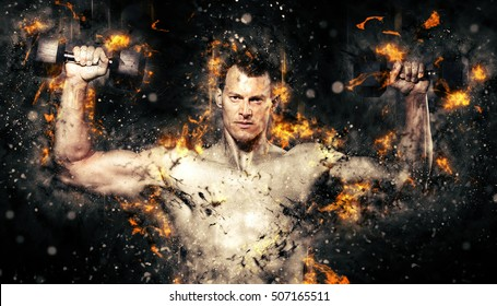 Man holding a dumbbell doing a fitness workout on fire