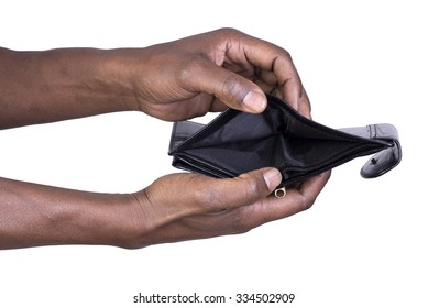 Man holding empty wallet isolated on white background