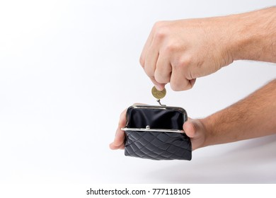 Man holding an empty wallet over an empty hand . The concept of poverty. Poor rich poverty business concept