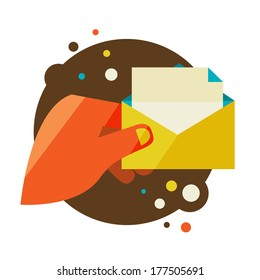 Man holding an envelope with a letter. Flat design modern illustration stylish colors of hand holding a business card