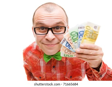 Man holding european money isolated on white background