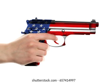 Man holding firearm with pattern of American flag on white background. Gun control concept