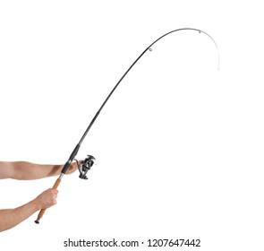 Man holding fishing rod on white background, closeup
