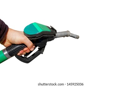 Man holding a fuel nozzle, isolated on white background