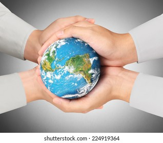 Man holding global in hands, Eco concept